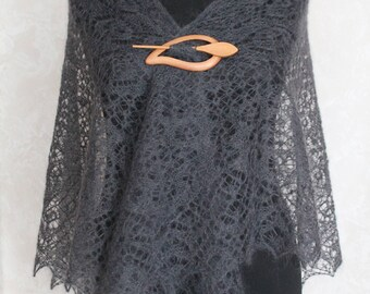 Knitted Shawl, Lace Shawl, Handmade Shawl, Womens Shawl, Grey Shawl, Hand Knitted Shawl, Woman Shawl Gift