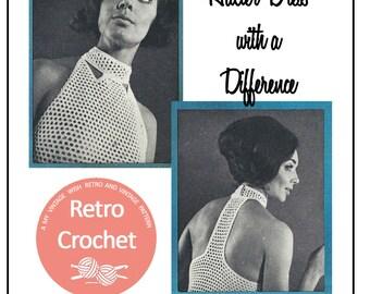 1960s Halter Dress Vintage Crochet Pattern - PDF Instant Download
