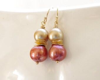 Rust Dangle Earrings 14k Gold Fill Freshwater Pearl Swarovski Jewelry Fall Bridesmaid Earrings Rust Gold Earrings Farm Wedding Jewelry