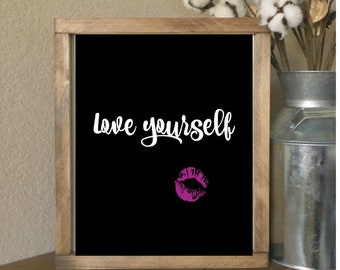 love yourself Wall Art Lips Downloadable printable 8x10 Modern Chic Room Decor