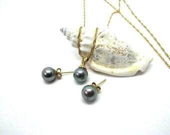 Black pearl necklace - Black pearl earrings - Stud earrings - Black Tahitian pearl necklace earrings - Black pearl jewelry gift - Wedding