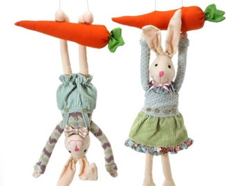 "Sale!!! 18"" Bunny Couple Hanging from Carrot's/Wreath Supplies/Easter Bunny Couple/Easter Decor/MT20076"