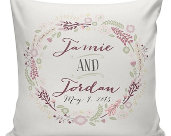 Wedding GIft, Personalized Wedding Gift, Cotton Anniversary,  Pillow Cover, Throw Pillows, Decorative Pillows,  #WE0112 Bride Groom