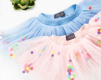 Blush tutu pom pom, blush tutu skirt baby, blush tulle tutu, ballet tutu blush, first birthday tutu, mommy and me skirts, toddler tutu