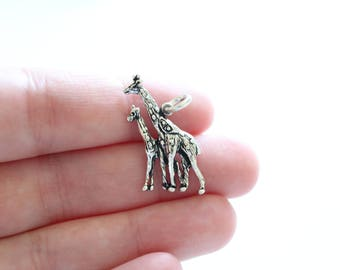 Sterling Silver Giraffe and Calf Charm, Giraffe and Calf Pendant, Giraffe Pendant, Silver Giraffe Charm, Mom and Baby Giraffe Charm