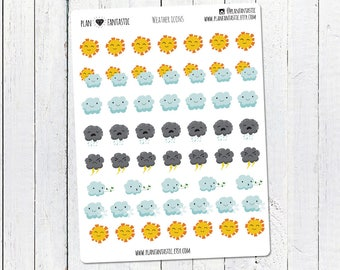Weather Icon planner stickers | Weather Journal Stickers | Diary