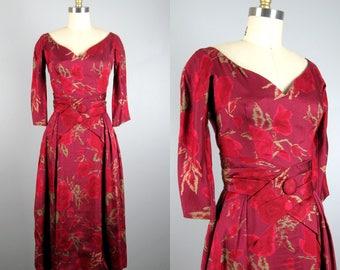 Vintage 1950s Silk Dress 50s Silk Shantung Rose Print Dress by Suzy Perette Size XS
