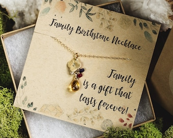 Mothers Birthstone Necklace, Family Tree Necklace, Family Tree Birthstone Jewelry, Birthstone Necklace for Mom, Custom Birthstone Necklace