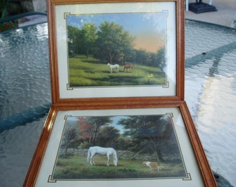 Thomas Locker. Horse... collie...framed litho