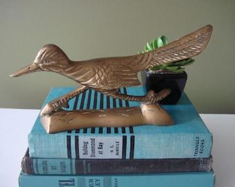 Vintage Brass Roadrunner - Brass Bird Figure - Southwest Decor