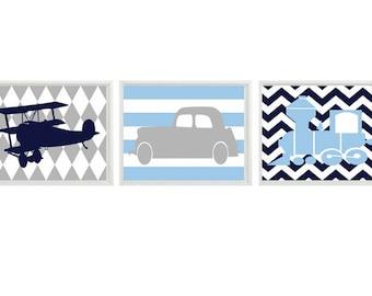 Transportation Nursery Art Print Set   prints - Car Plane Airplane Train - Light Blue Navy Gray Chevron Stripes - Wall Art Home Decor
