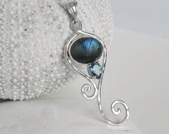 Mermaid Tail Labradorite Necklace - London Blue Topaz Labradorite Necklace - Mermaid Jewelry - Teal Labradorite - Gemstone Swirl - Fantasy