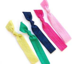 Lizzie - 5 Comfort Elastic Hair Ties / Bands / Bracelets