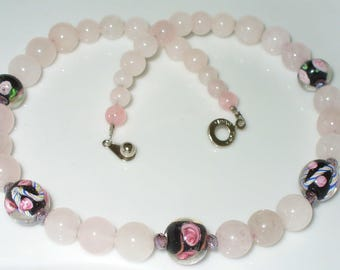Rose Quartz Pearl Necklace 41 cm