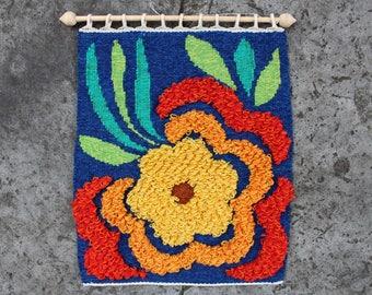 Scandinavian Wool Wall Hanging Woolen Tapestry with Big Flower, Hand Woven Wall Decor, Scandinavian Home Decor