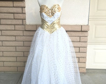 70s Strapless Gold Metallic Polka Dot Tulle Party Dress by Alfred Angelo Flirtations Size M