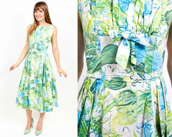 1950s Floral Blue Rose Print Sundress - XS