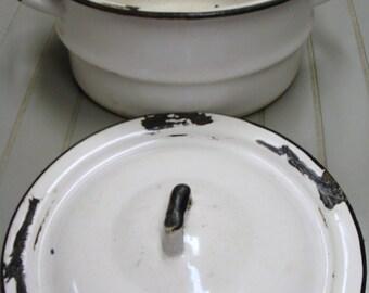 Vintage Enamel Pot With Lid