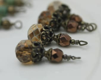 Copper Crystal Rondelle and Copper Beaded Dangle Charm Drop Pendant, Earring Dangle