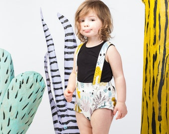 Cactus Suspender Bloomers in Dusty Pink, Yellow Ochre, Blue Mint and Black on White