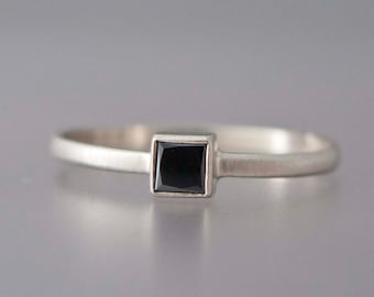 Square Black Diamond Engagement Ring in solid 14k white or yellow gold
