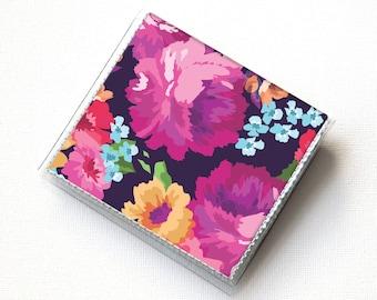 Vinyl-Platz-Kartenhalter - Margot lila / Fall, Vinyl, Snap, Brieftasche, Platz Brieftasche, Moo Fall, quadratisch, Blumen, Sommer-Brieftasche, Vegan Brieftasche