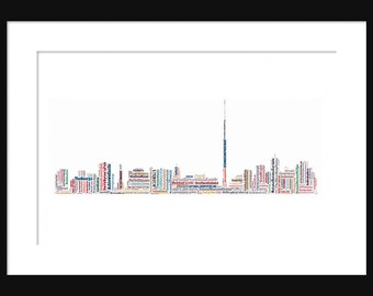 Dublin Ireland Skyline Word Art Color Typography Print Poster Map