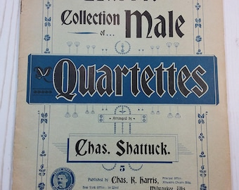 Harris Collection for Male Quartette Ephemera Booklet for Mixed-Media Arting, Printed Music Collectors, etc.