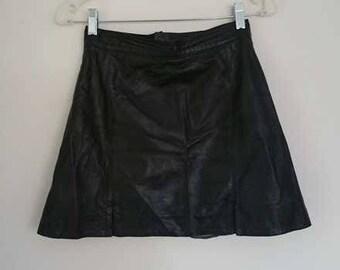 Vintage Italian Leather Mini Skirt
