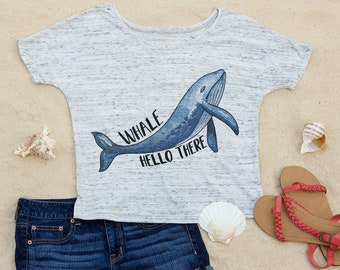 Whale Hello There, Beach Slouchy Scoop Neck Women's T-Shirt, Ocean, Cute, Gift for Women, Gift for Her, Aesthetic Clothing, Funny Shirt