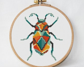 Scarabaeus - scarab - cross stitch pattern amulet geometric cross stitch modern beetle insect unique designs home decor