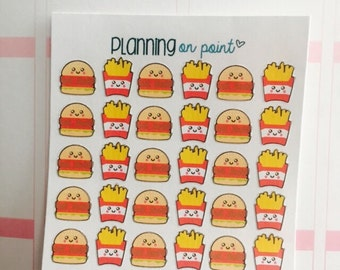Kawaii Burgers and French Fries Planner Stickers!