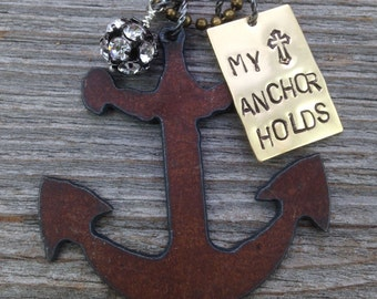 Anchor Necklace MY ANCHOR HOLDS Hebrews 6-19 Anchor Jewelry Nautical Necklace Nautical Jewelry Bible Verse Necklace Scripture Necklace