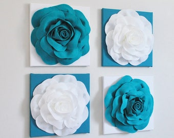 """Wall Decor -Set of Four Turquoise and White Flower Wall Hangings 12 x12"""" Canvases Flower Wall Art-"""