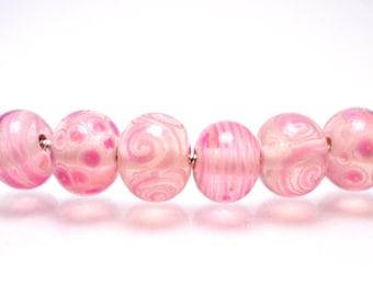 lampwork bead glass handmade lampwork jewelry glass making set snake jewelry artisan lampwork Murano glass pink shimmer pink points strips