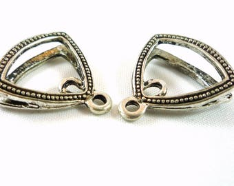 10 charms antique silver double shape triangle (bre67)