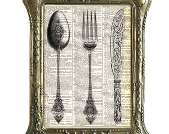FORK Spoon KNIFE art print Victorian kitchen dining on vintage dictionary book page wall decor illustration poster black white 8x10, 5x7