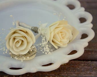 Sola wood flower boutonniere, grooms sheet music boutonniere, sola wood flower, grooms flower, paper wedding flowers, pin on eco flower