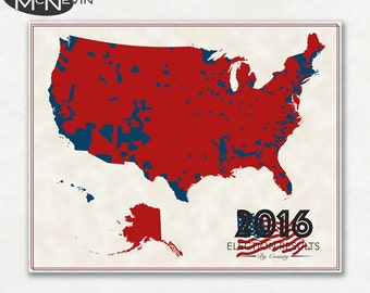 2016 US ELECTION RESULTS County Map, Fine Art Photographic Print, Map of the United States