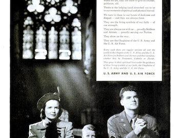1949 US Army US Air Force Print Poster Advertisement Military Veteran - Praying Faith Christianity Black White Grayscale Wall Art Home Decor