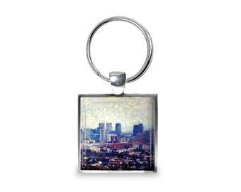 Los Angeles Skyline - Glass Photo Keychain - Handmade