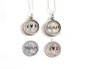 Sixpence for Wedding . sixpence jewelry . sixpence charm . sixpence for bride . engraved sixpence bride to be gift ideas