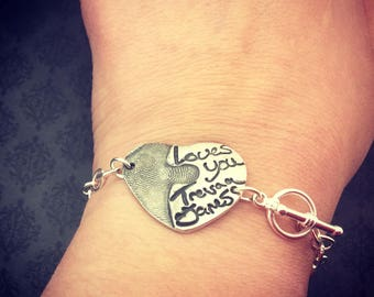 Actual Handwriting Jewelry - Fingerprint Jewelry - Handwriting Bracelet - Fingerprint Bracelet - Puzzle Piece Jewelry - Say Anything Jewelry