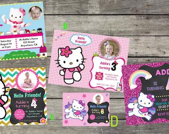 Personalized Hello Kitty Birthday Invitation- Digital File Only - DIY 5x7