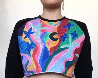 Hand-painted Upcycled Palms and Stars Baseball Crop Top
