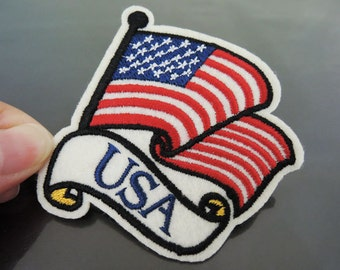 USA Country Flag Patches -  Iron on Patch / Sewing on Patch USA Letter Patch Embellishments Embroidery Applique