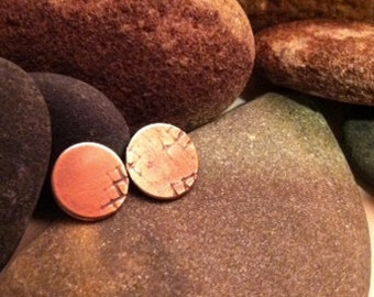 PORCH petite organic copper with sterling post earrings