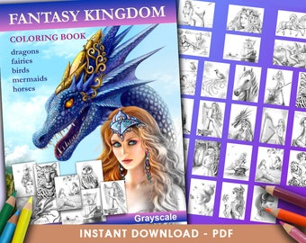 Printable Digital PDF -  Fantasy Kingdom  Coloring Book GRAYSCALE by Alena Lazareva Coloring, instant DOWNLOAD. Coloring pages