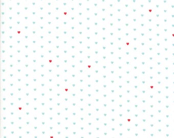 Floral Whole Heart Cream Aqua from Good Life Collection by Bonnie and Camille for Moda Fabrics