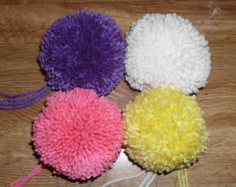 Handmade 4 Extra Large Pom Poms - 3.5 inch Yarn Pom Poms - Made to Order Poms Poms-  Bag Charms ,  Hat Toppers , Ornaments